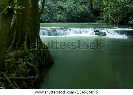 Waterfall in tropical forest, Thailand