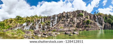 Waterfall in Vietnam. Panorama - stock photo