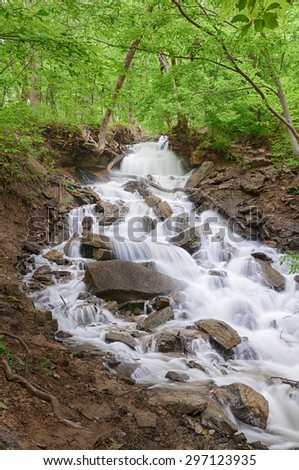 Waterfall in western Missouri. - stock photo