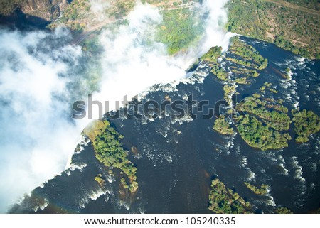 waterfall in zimbabwe - stock photo