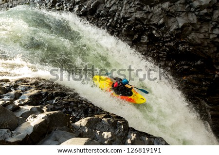 Waterfall kayak jump, aprox hight 45 feet high - stock photo
