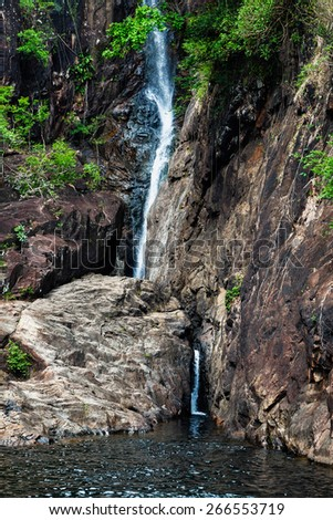 Waterfall Khlong Plu on the island of Koh Chang in Thailand - stock photo