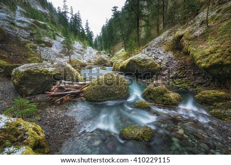 Waterfall Landscape, creek landscape, and river landscape, Columbia River Gorge, Oregon - stock photo