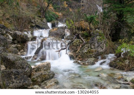 Waterfall located near the headwaters of Rio Mundo in Albacete (Spain)