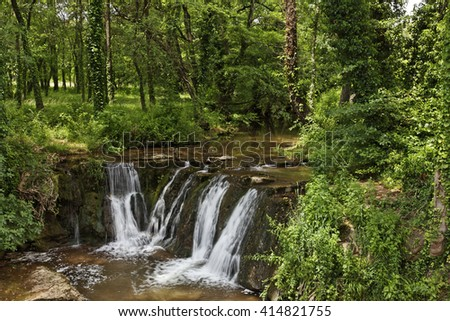Waterfall, Massif des Maures, Provence, Southern France, Europe - stock photo