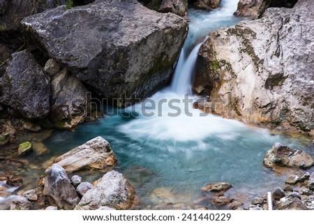 Waterfall Mountain Republic of Abkhazia - stock photo