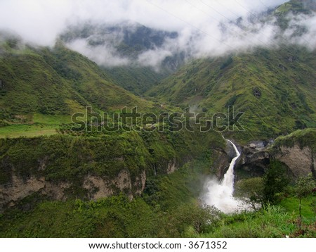 Waterfall near Banos, Ecuador - stock photo