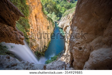 "Waterfall of Horsetail, top down view at the ""Monasterio de Piedra"" Natural Park in Zaragoza, Spain - stock photo"