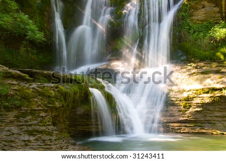 Waterfall of Peñaladros, Cozuela, Burgos (Spain)
