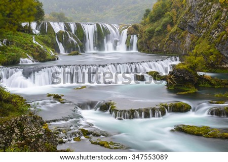 Waterfall of Strbacki Buk on Una river in Bosnia and Herzegovina - stock photo