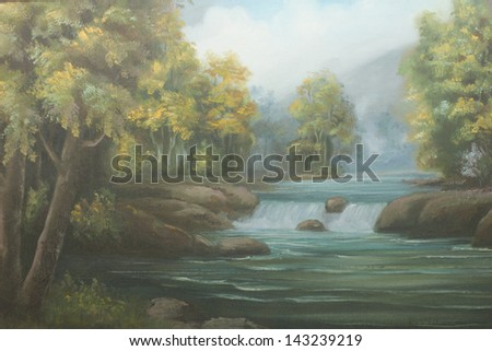 waterfall  : oil color painting - stock photo