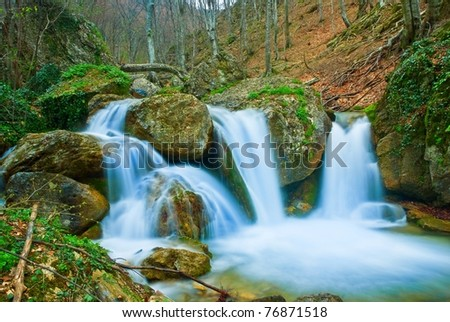 waterfall on a spring mountain river