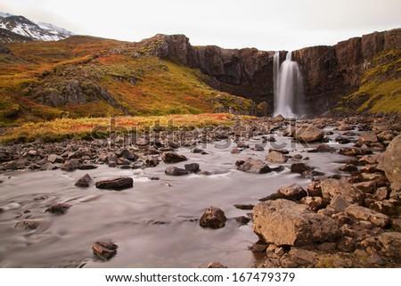waterfall on iceland - stock photo