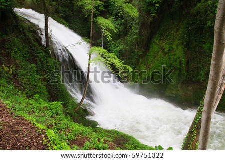 Waterfall on rapid river surrounded with green vegetation - stock photo