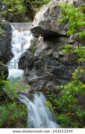 Waterfall on the highest mountain in Greece, Mount Olympus - stock photo