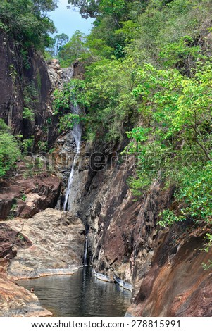 Waterfall on the island of Koh Chang in Thailand - stock photo