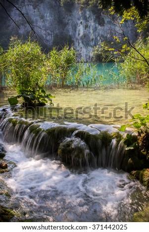 Waterfall Plitvice Lakes - stock photo