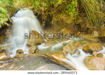 Waterfall stream in the rainforest, Thailand. - stock photo