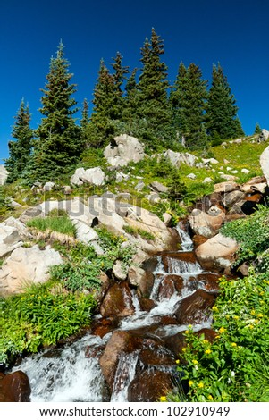 Waterfall surrounded by wildflowers in the Colorado mountains landscape - stock photo
