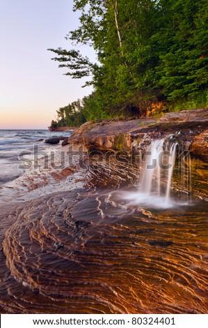 Waterfall. Taken at Pictured Rock National Lakeshore, Michigan, USA. - stock photo