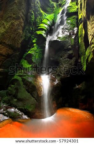 Waterfall, Teplice-Adrspach Rocks, Czech Republic - stock photo