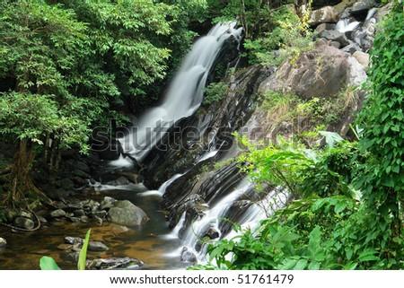waterfall, Ton nga chang, South of Thailand - stock photo