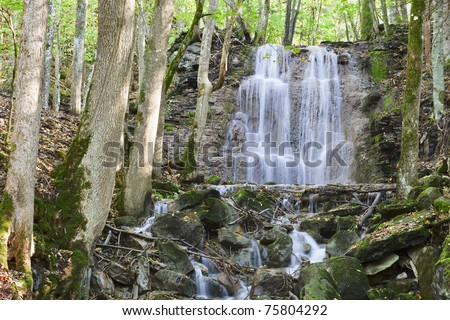 Waterfall with a stream in the deciduous forest - stock photo