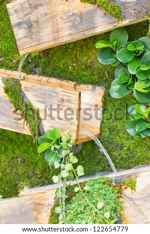 Waterfall with wooden box, gardening design.