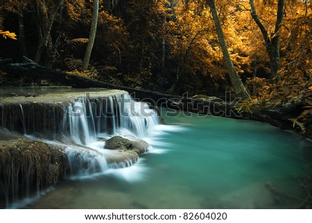 waterfall yellow forest leaf and blue stream in Thailand - stock photo