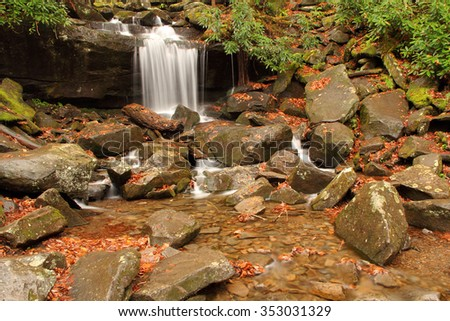 Waterfalls along the Rainbow Falls Trail in Great Smokey Mountains National Park - stock photo