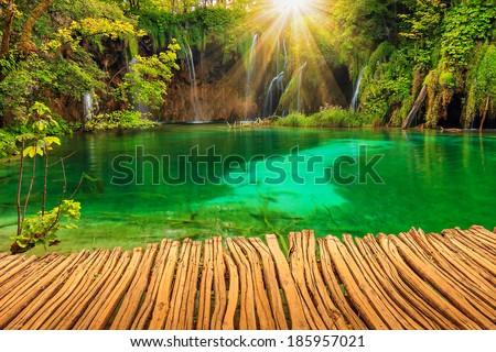 Waterfalls and lake,Plitvice National Park,Croatia,Europe - stock photo