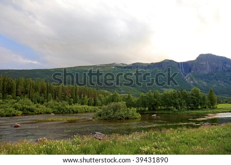 Waterfalls and river in Norway, between Oslo and Bergen. Scandinavian landscapes.