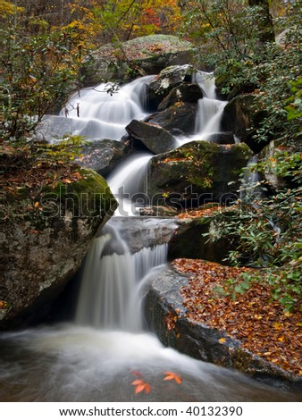 Waterfalls at South Mountain State Park during fall - stock photo