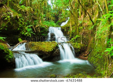 Waterfalls in a tropical forest. Hawaii, Big Island - stock photo