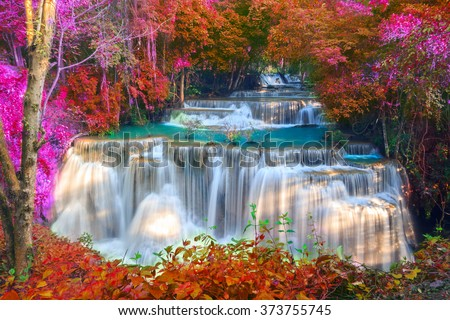 Waterfalls In Deep Forest at Huai Mae Khamin Waterfall in National Park Kanchanaburi Thailand - stock photo