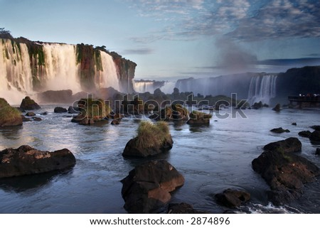 Waterfalls in Iguazu between Brazil and Argentina - stock photo
