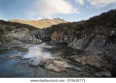 waterfalls in mountains on isle of skye, scotland - stock photo