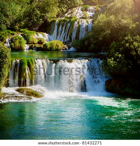 Waterfalls in national park. Krka National Park, Croatia - stock photo