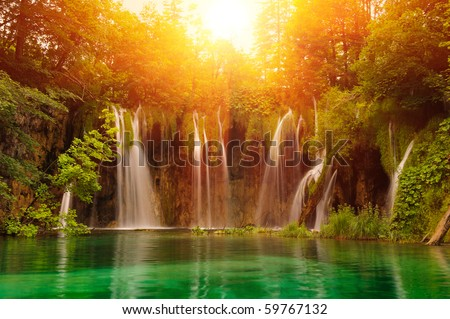 Waterfalls in national park. Plitvice, Croatia - stock photo