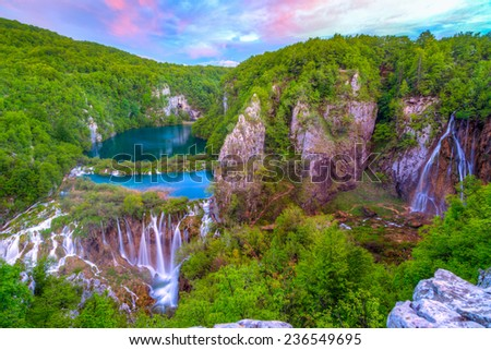 Waterfalls in Plitvice National Park, Croatia. This photo make HDR technic - stock photo