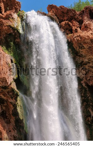 Waterfalls in rocks, Mooney Falls, Grand Canyon, Arizona - stock photo