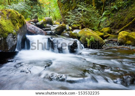 Waterfalls in the Columbia River Gorge, Oregon - stock photo