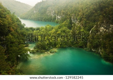 waterfalls in the natural park - stock photo