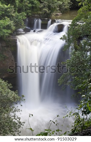 Waterfalls in the rainy season in the forest Khao Yai National Park, Thailand - stock photo