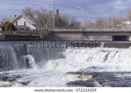 Waterfalls in winter - stock photo
