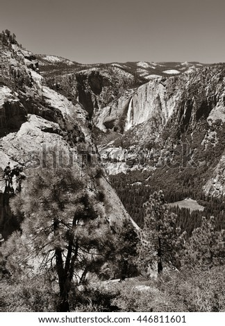 Waterfalls in Yosemite National Park in California black and white - stock photo