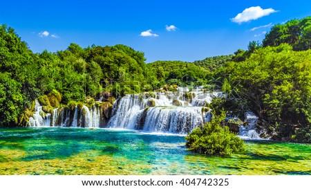 Waterfalls Krka, National Park, Dalmatia, Croatia - stock photo
