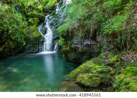 Waterfalls near the source of Zirauntza river, Alava (Spain) - stock photo