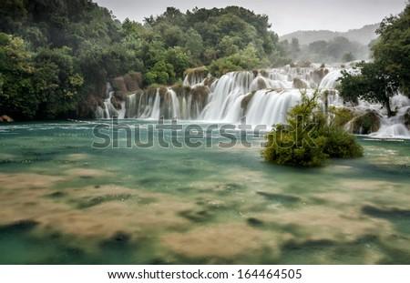 Waterfalls on Krka River. National Park, Dalmatia, Croatia - stock photo