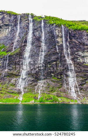 Waterfalls Seven Sisters in Geirangerfjord, Norway